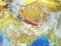 Nepal na ziemi od przestrzeni ilustracja wektor
