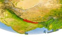 Nepal no vermelho no modelo de terra Fotos de Stock Royalty Free