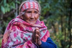 NEPAL - NOVEMBER 11, 2018: Portrait of Authentic Old Wrinkled Nepalese Woman royalty free stock photography