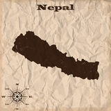 Nepal old map with grunge and crumpled paper. Vector illustration Stock Photo