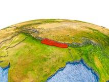 Nepal op model van Aarde Stock Afbeeldingen