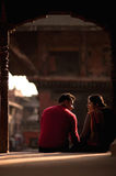 Nepal people. Couple in love in the square stock images