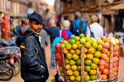 Nepal people. Selling apple at Bakhtapur Nepal Royalty Free Stock Images