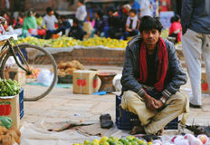 Nepal people. Selling apple at Bakhtapur Nepal Stock Image