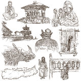 Nepal - Pictures of life. Travel. Full sized hand drawings, orig Stock Photography
