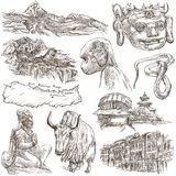 Nepal - Pictures of life. Travel. Full sized hand drawings, orig Stock Image