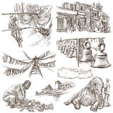 Nepal - Pictures of life. Travel. Full sized hand drawings, orig Stock Photos