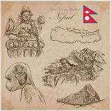 Nepal - Pictures of life. Travel. Vector collection. Hand drawin Stock Photo