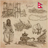 Nepal - Pictures of life. Travel. Vector collection. Hand drawin Royalty Free Stock Photo