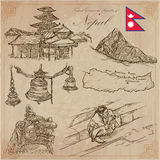 Nepal - Pictures of life. Travel. Vector collection. Hand drawin Stock Images