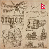 Nepal - Pictures of life. Travel. Vector collection. Hand drawin Royalty Free Stock Photos