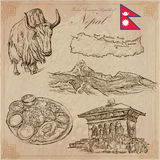 Nepal - Pictures of life. Travel. Vector collection. Hand drawin Stock Photos