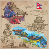 Nepal - Pictures of life. Travel. Vector collection. Hand drawin Stock Image