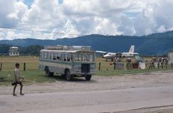 1975. Nepal. Pokhara airport. The picture shows Pokhara airport, with a small plain getting ready for take off Stock Photo