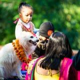 Nepal policja świętuje Kukur Tihar w Kathmandu Obraz Stock