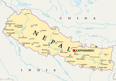 Nepal Political Map Stock Photography