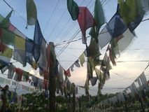 Nepal Prayer Flag big collection. Nepal Sutras, originally written on cloth banners, were transmitted to other regions of the world as prayer flags.[3] Legend Stock Photo