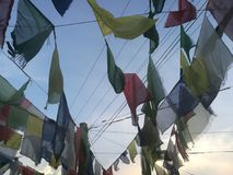 Nepal Prayer Flag collection. Nepal Sutras, originally written on cloth banners, were transmitted to other regions of the world as prayer flags.[3] Legend Royalty Free Stock Photo