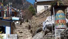 Nepal, Prayer grinders and stairs to the heaven stock image