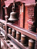 Nepal prayer wheels and bell Royalty Free Stock Photo