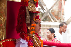 Nepal's living Goddess, the Kumari, Durbar Square, Kathmandu, Ne Stock Image