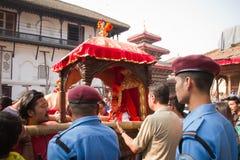 Nepal's living Goddess, the Kumari, Durbar Square, Kathmandu, Ne Royalty Free Stock Photography