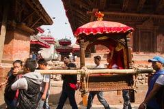 Nepal's living Goddess, the Kumari, Durbar Square, Kathmandu Stock Images