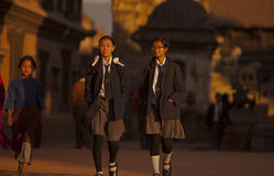 Nepal's school uniform. Nepal's primary and secondary school uniforms designed by the various schools, uniforms are so distinctive, fully dressed, with Stock Photos