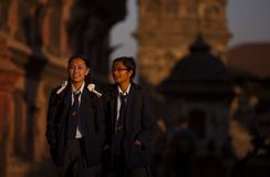 Nepal's school uniform. Nepal's primary and secondary school uniforms designed by the various schools, uniforms are so distinctive, fully dressed, with Stock Photo