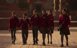 Nepal's school uniform. Nepal's primary and secondary school uniforms designed by the various schools, uniforms are so distinctive, fully dressed, with Royalty Free Stock Image