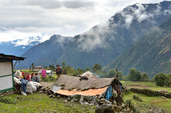 Nepal, a small village in the Himalayas in bad weather stock photos