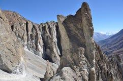 Nepal som trekking i Himalayas Vagga bildande på en höjd av 4000 metrar ovanför havsnivå Arkivfoto