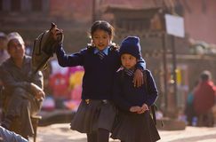 Nepal students school uniforms Stock Photos