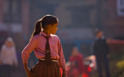 Nepal students school uniforms Royalty Free Stock Photos