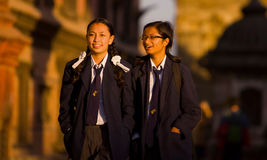 Nepal students school uniforms Stock Image