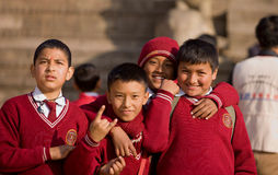Nepal students school uniforms Stock Photography