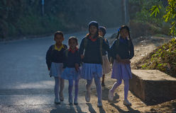 Nepal students school uniforms Royalty Free Stock Images
