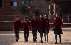 Nepal students school uniforms Stock Images