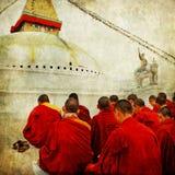 nepal stupa e monges Imagem de Stock Royalty Free