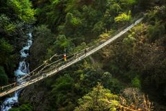 Nepal suspension bridge sherpa royalty free stock photography