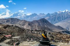 Nepal - Temple in Muktinath, Annapurna Circuit Trek. Hindu temple, Muktinath Mandir, surrounded by high Himalayan mountains, Annapurna Circuit Trek, Nepal stock images