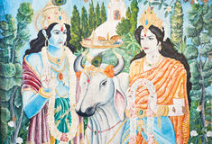 In Nepal, the temple wall murals Stock Photos