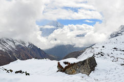 Nepal, trekking in Himalayas, mountain landscape near the village of Machermo, 4500 meters above sea level Royalty Free Stock Photo