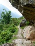 Nepal trekking. Marsyangdi river valley - Tourist on Annapurna Circuit trek in Nepal royalty free stock photography
