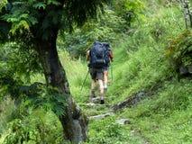 Nepal trekking. Tourists passing way through forest - Marsyangdi river valley - Annapurna Circuit trek in Nepal royalty free stock images