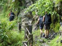 Nepal trekking. Walkway at the foot of hill - Marsyangdi river valley - Annapurna Circuit trek - Nepal stock images