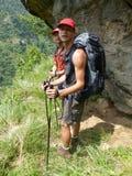 Nepal trekking. Way through Marsyangdi river valley - Annapurna Circuit trek stock photos