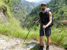 Nepal trekking. Way through Marsyangdi river valley - Annapurna Circuit trek royalty free stock image