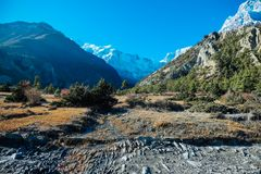 Nepal - View on Annapurna Chain from Humde stock photo