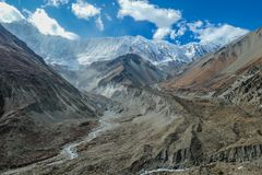 Nepal - View on Himalayas Mountain Chains from Annapurna Circuit Trek royalty free stock images